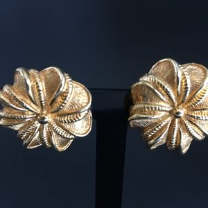 Gold Tone Marboux Marcel Boucher Flower Earrings